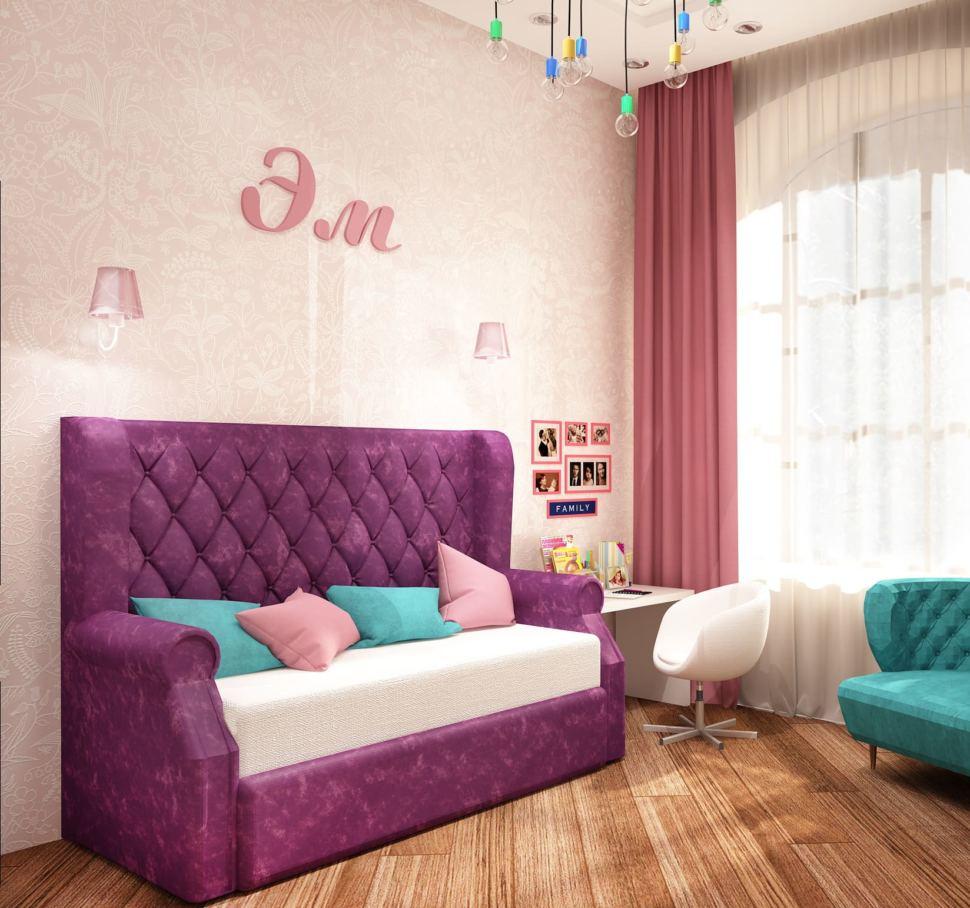 Дизайн-проект детской комнаты для девочки 13 кв.м с нежными бежевыми оттенками в сочетании с бирюзовыми акцентами, розовый диван, белый стул