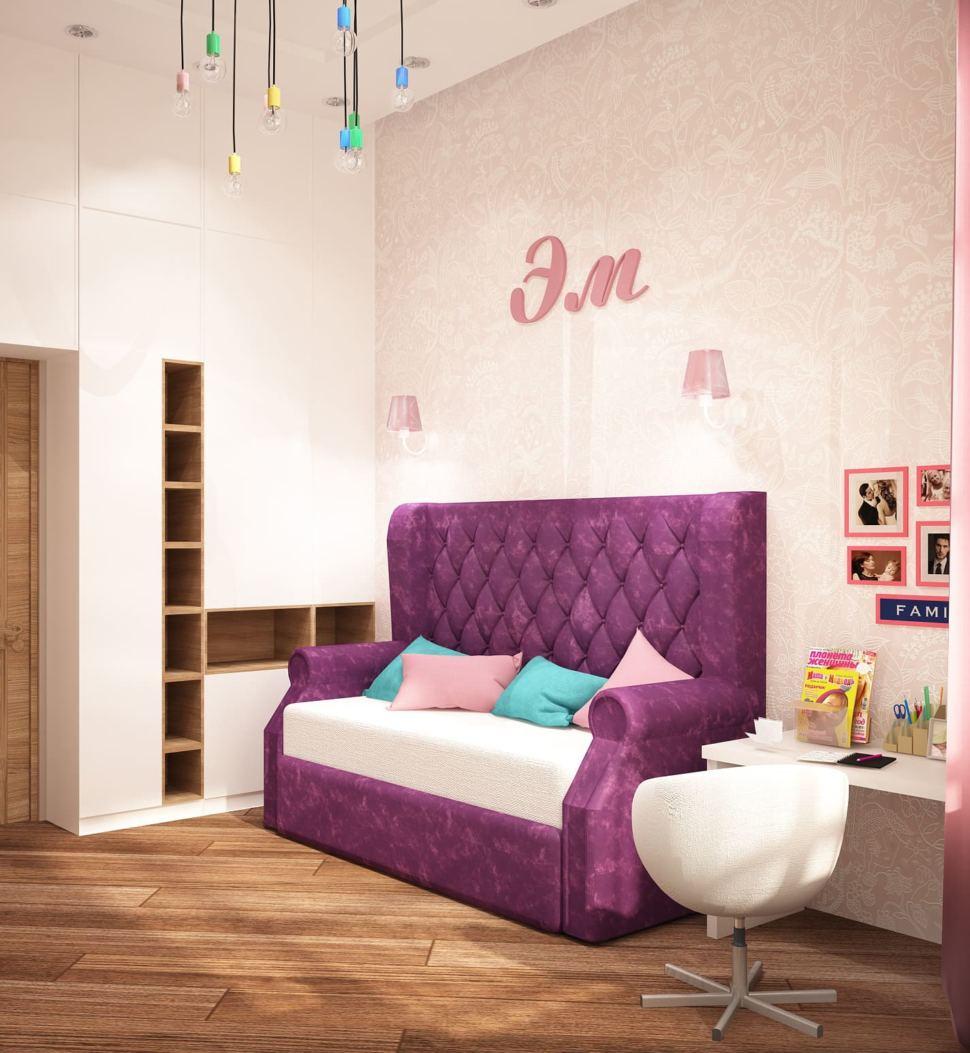 Визуализация детской для девочки 13 кв.м в розовых тонах, розовое кресло, стол, фиолетовый диван, шкаф