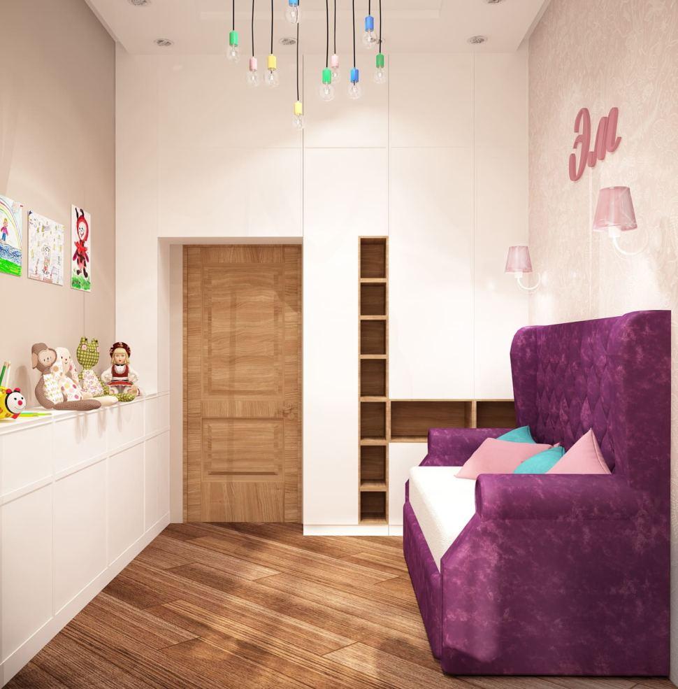 Дизайн детской для девочки 13 кв.м в теплых тонах, полки, шкаф, диван, софа, система хранения