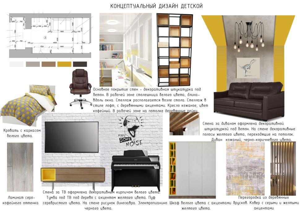 Концептуальный дизайн детской комнаты 22 кв.м, белая кровать, ламинат, тумба под ТВ, телевизор, черный диван, черный стеллаж
