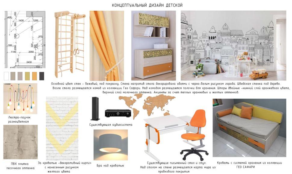 Концептуальный дизайн детской 14 кв.м. с оранжевыми оттенками, разноцветная люстра, пвх плитка, письменный стол