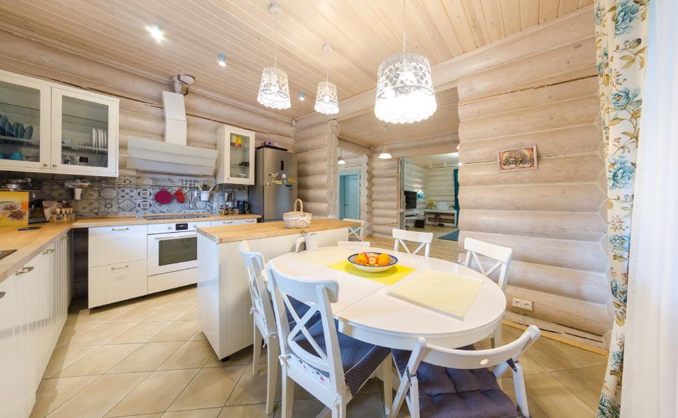 Дизайн кухни, подвесные светильники, бревна, овальный стол, стулья, прованс, пэчворк, орнамент