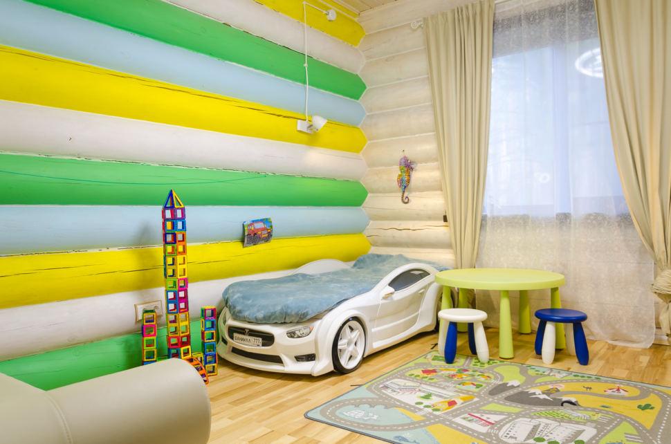 интерьер детской в стиле прованс, детский столик, кровать, подвесные светильники, акцент, игрушки, машина