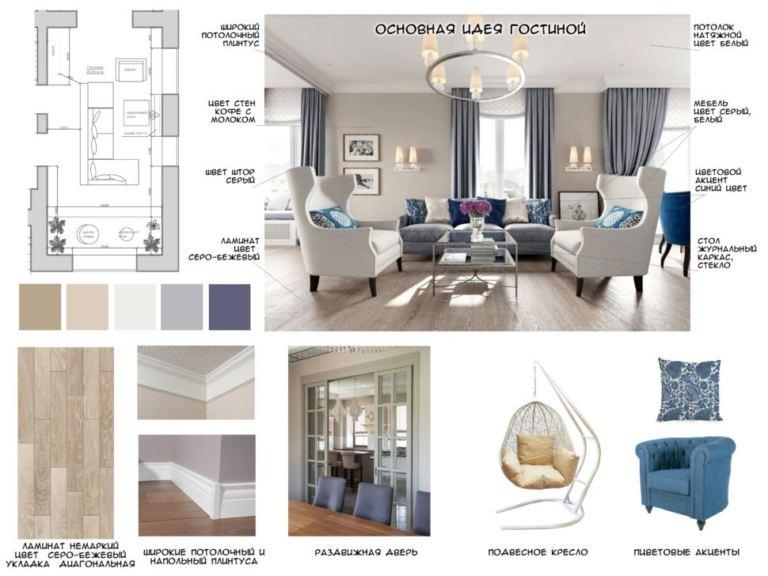 Основная идея гостиной 46 кв.м в теплых тонах с синими акцентами, раздвижная дверь, подвесное кресло, журнальный столик, ламинат
