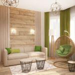 Дизайн гостевой 15 кв.м в теплых тонах, диван, люстра, торшер, подвесное кресло, журнальный столик, бруски