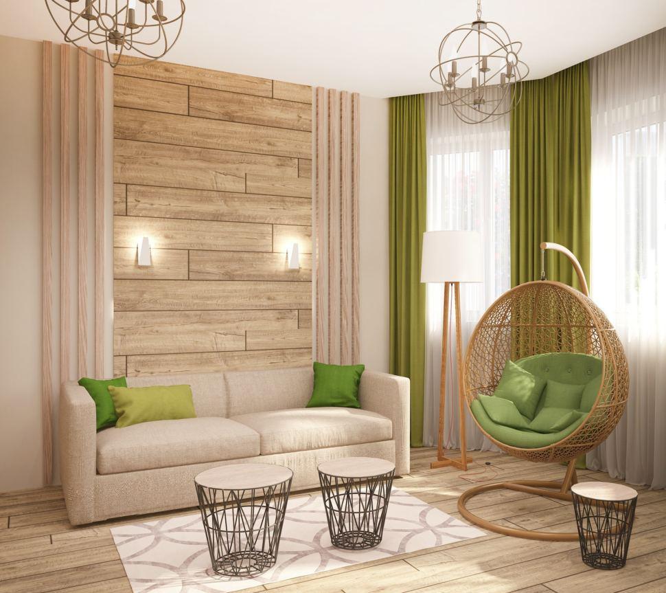 Визуализация гостевой 15 кв.м в современном стиле с зелеными оттенками, журнальный столик, телевизор, бежевый диван, зеленые портьеры