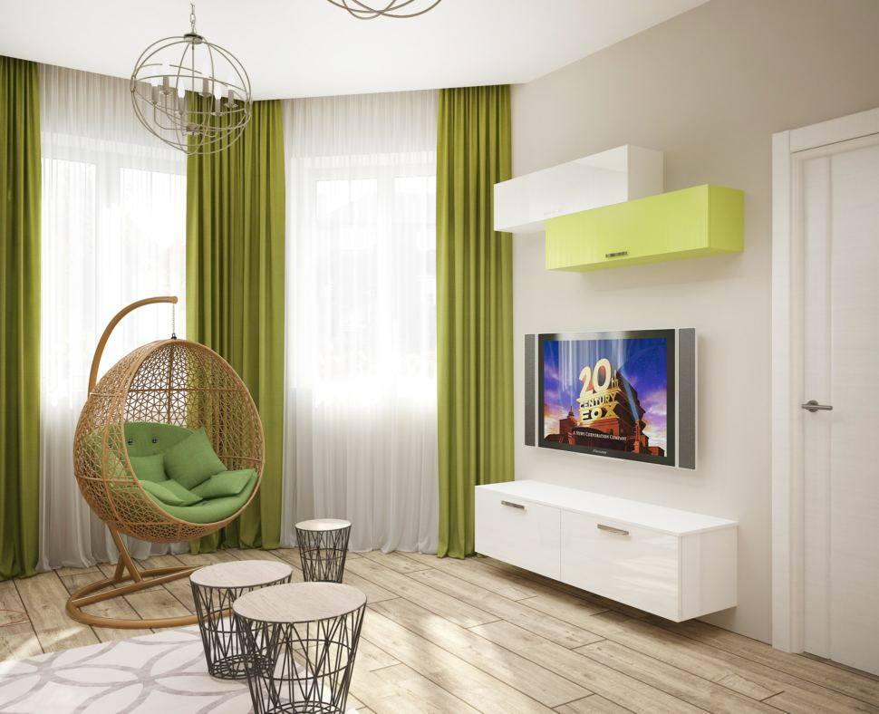 Дизайн гостевой 15 кв.м в светлых тонах, подвесное кресло, тумба, телевизор, журнальный столик, люстра, салатовые портьеры