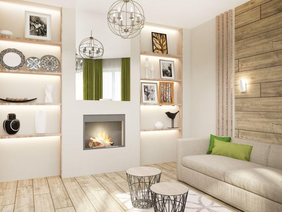 Визуализация гостевой 15 кв.м в белых тонах, камин, зеркало, диван, ниши с полками, журнальный столик
