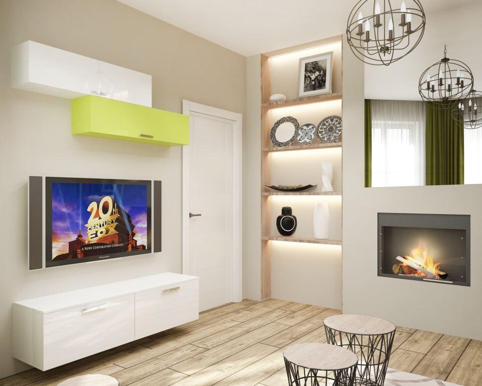 Дизайн гостевой 15 кв.м в белых тонах, тумба, шкаф, телевизор, электрический камин, зеркало, люстра