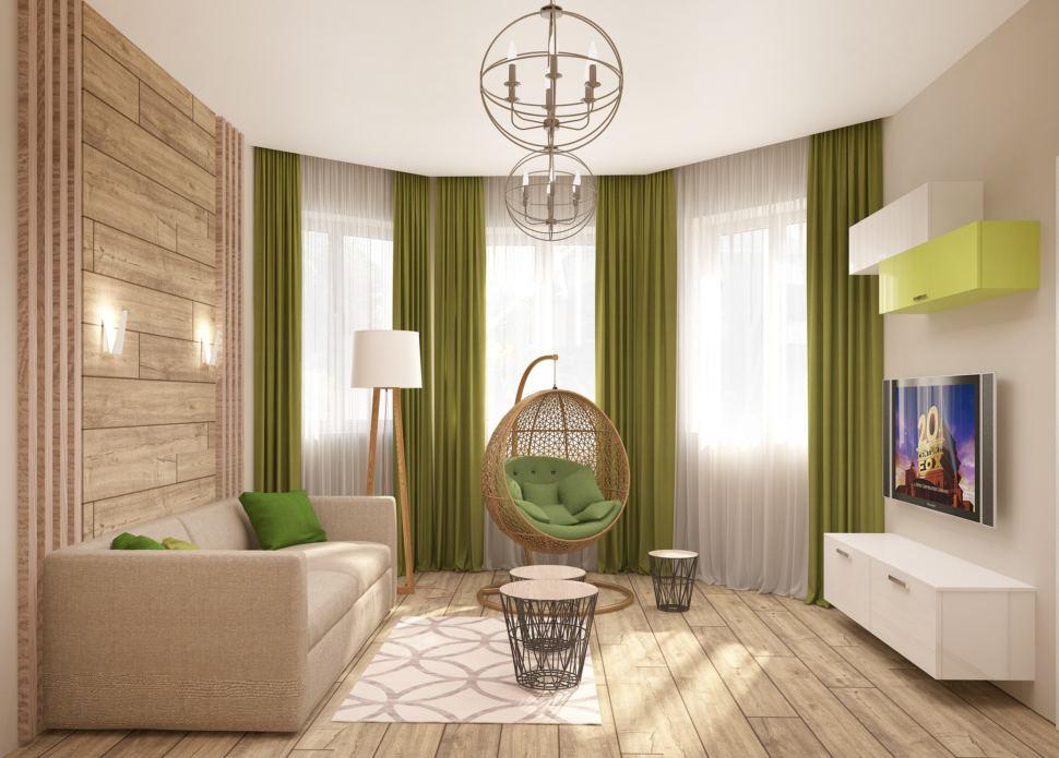Визуализация гостевой 15 кв.м в зеленых тонах, подвесное кресло, бежевый диван, белая тумба под ТВ, шкафчики