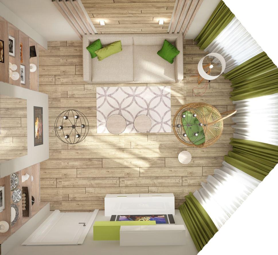 Дизайн интерьера гостевой 15 кв.м в современном стиле с белыми оттенками, журнальный столик, телевизор, бежевый диван, подвесные полки