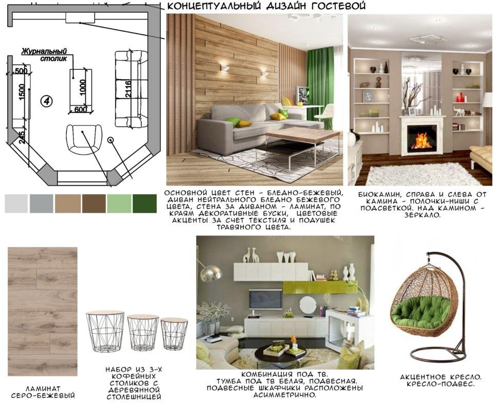 Концептуальный дизайн гостевой 15 кв.м в современном стиле с зеленными и бежевыми оттенками, серо-бежевый ламинат, набор из трех кофейных столиков