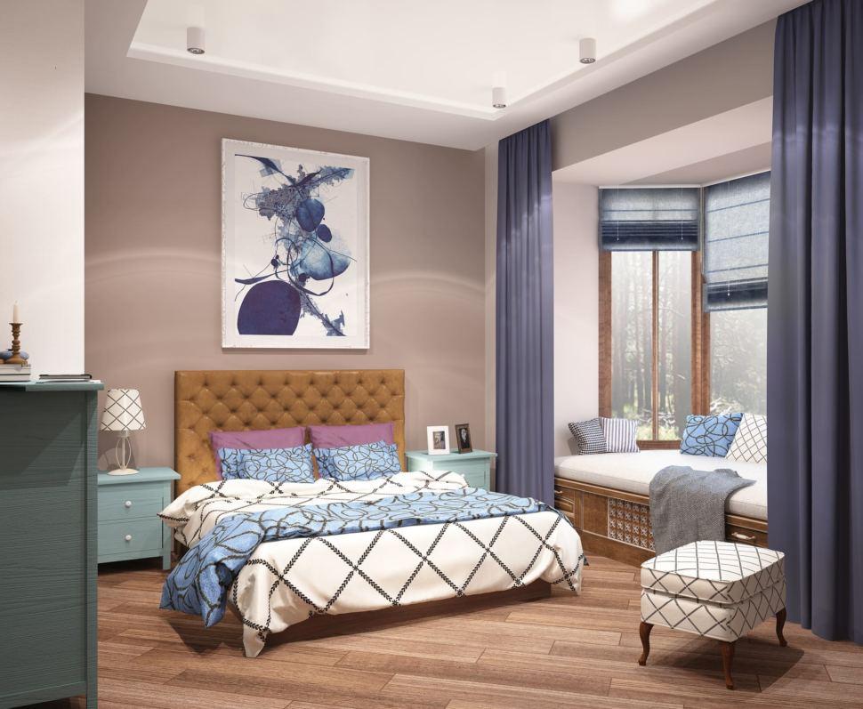 Дизайн гостевой комнаты 20 кв.м с бирюзовыми оттенками, кровать, комод, белый пуф, комод, тумбочка