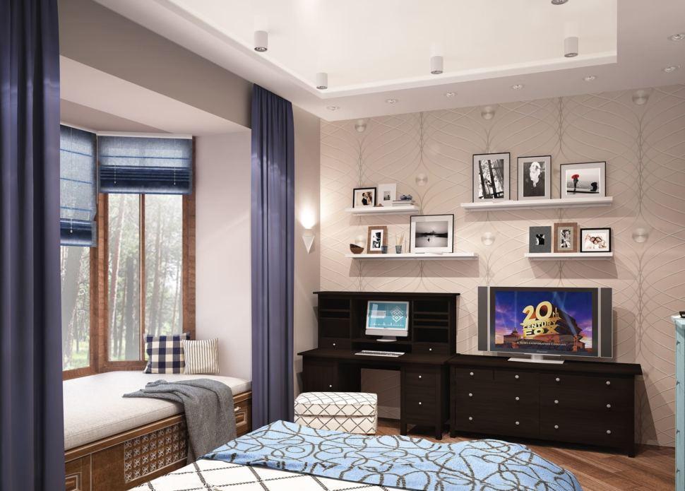 Визуализация гостевой комнаты 20 кв.м, телевизор, полки, пуф, кровать, синие портьеры