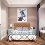 Дизайн гостевой комнаты 20 кв.м в голубых тонах, кровать, шкаф, голубой комод, прикроватная тумбочка