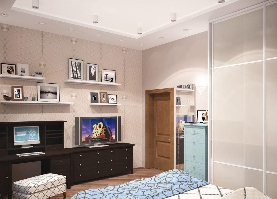 Визуализация гостевой комнаты 20 кв.м в теплых тонах, комод, компьютерный стол, кровать, шкаф, пуф