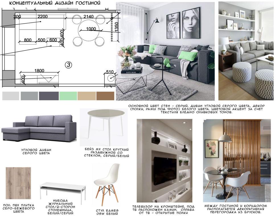 Концептуальный дизайн гостиной 20 кв.м, угловой диван серого цвета, журнальный столик, стул, декоративная перегородка
