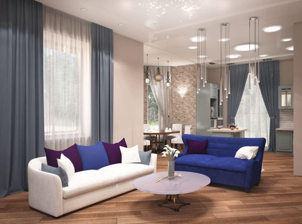 Дизайн гостиной 27 кв.м с бирюзовыми акцентами, диван, журнальный столик, синее кресло, люстра