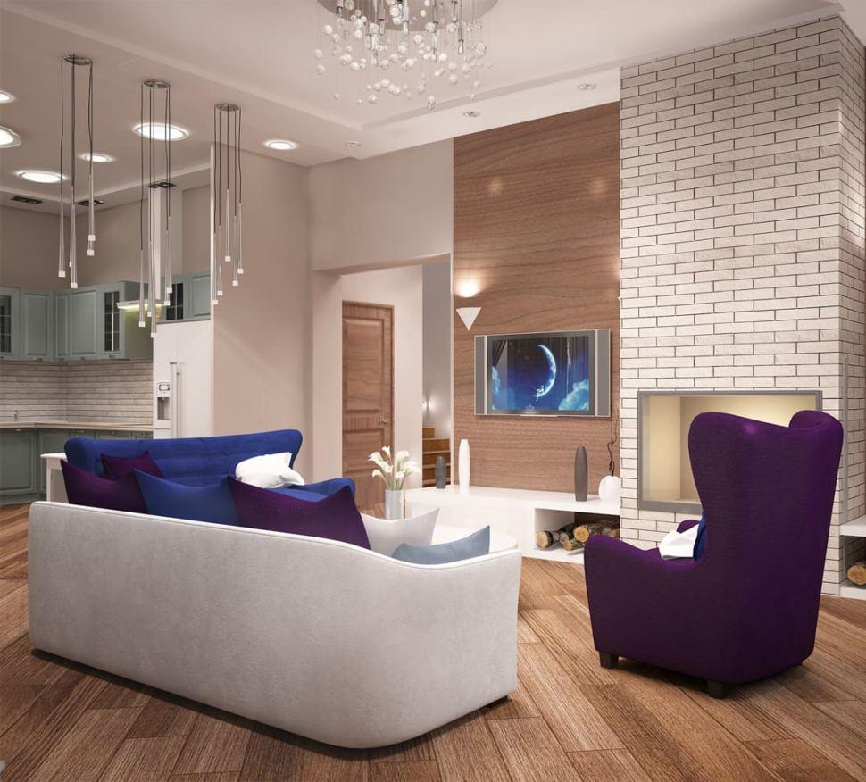 Визуализация гостиной 27 кв.м в теплых тонах, диван, люстра, камин, фиолетовое кресло