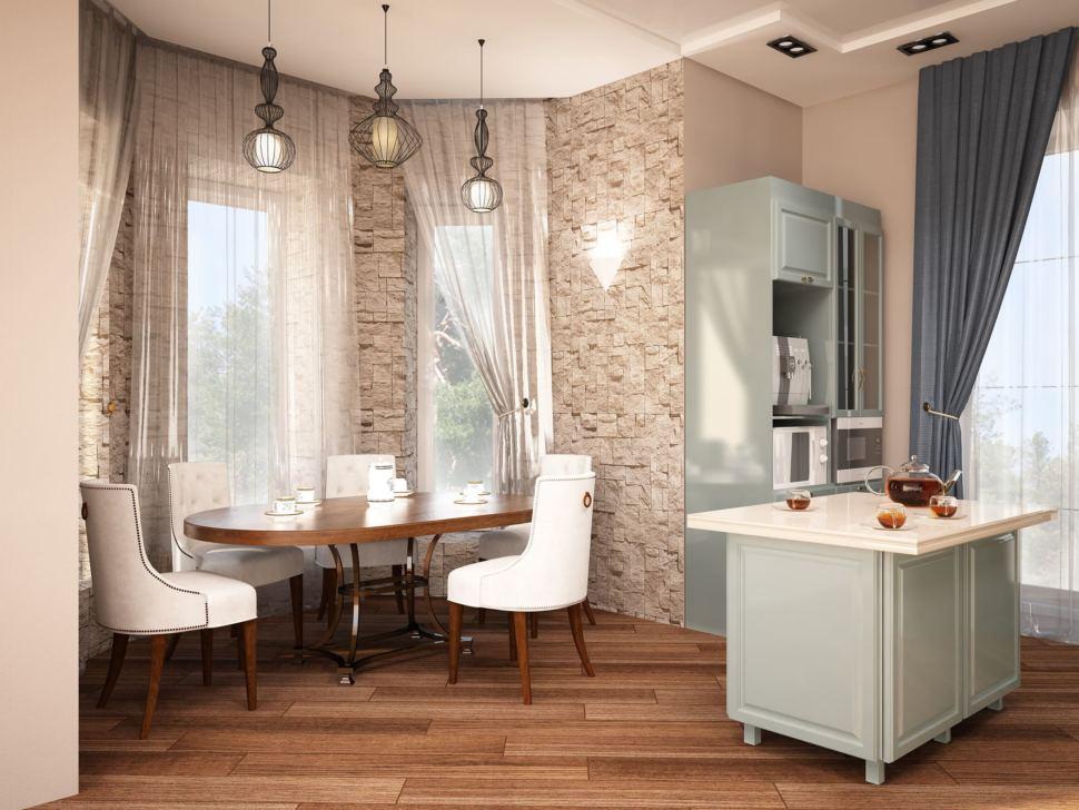 Дизайн кухни 27 кв.м в теплых тонах, обеденный стол, стулья, кухонный остров, шкафы - пеналы, светильники