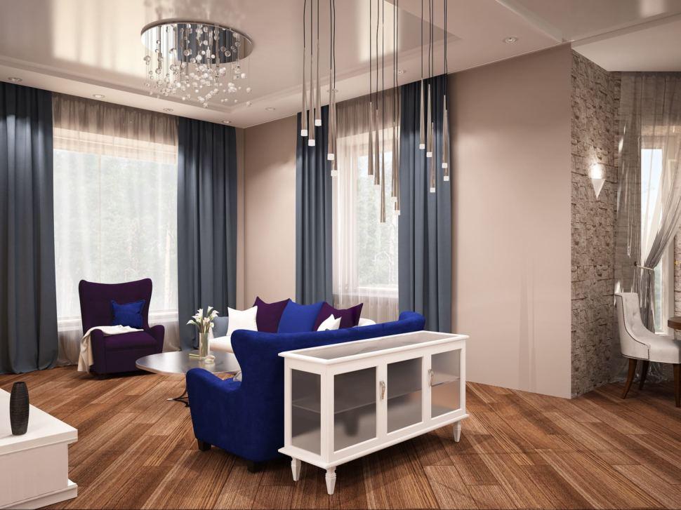 Визуализация гостиной 27 кв.м в теплых тонах, шкаф, диван, журнальный столик, белый комод подвесные светильники