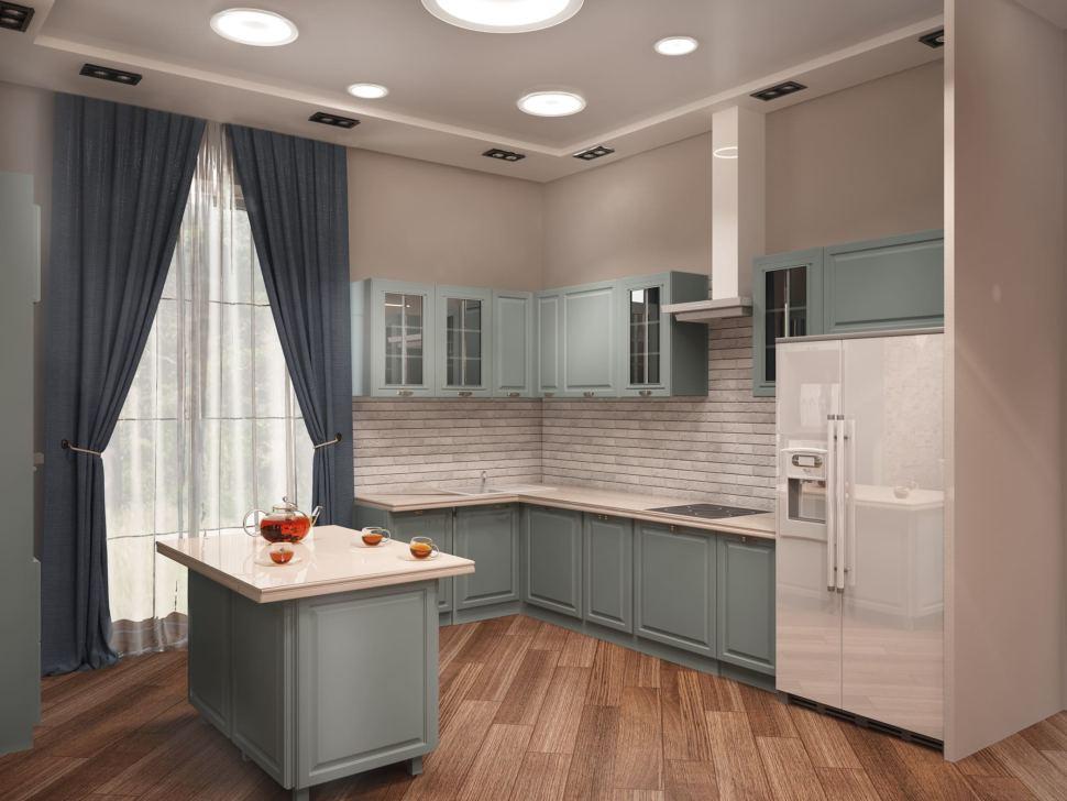 Визуализация кухни 27 кв.м в синих тонах, холодильник, кухонный остров, светло-бирюзовый кухонный гарнитур, портьеры