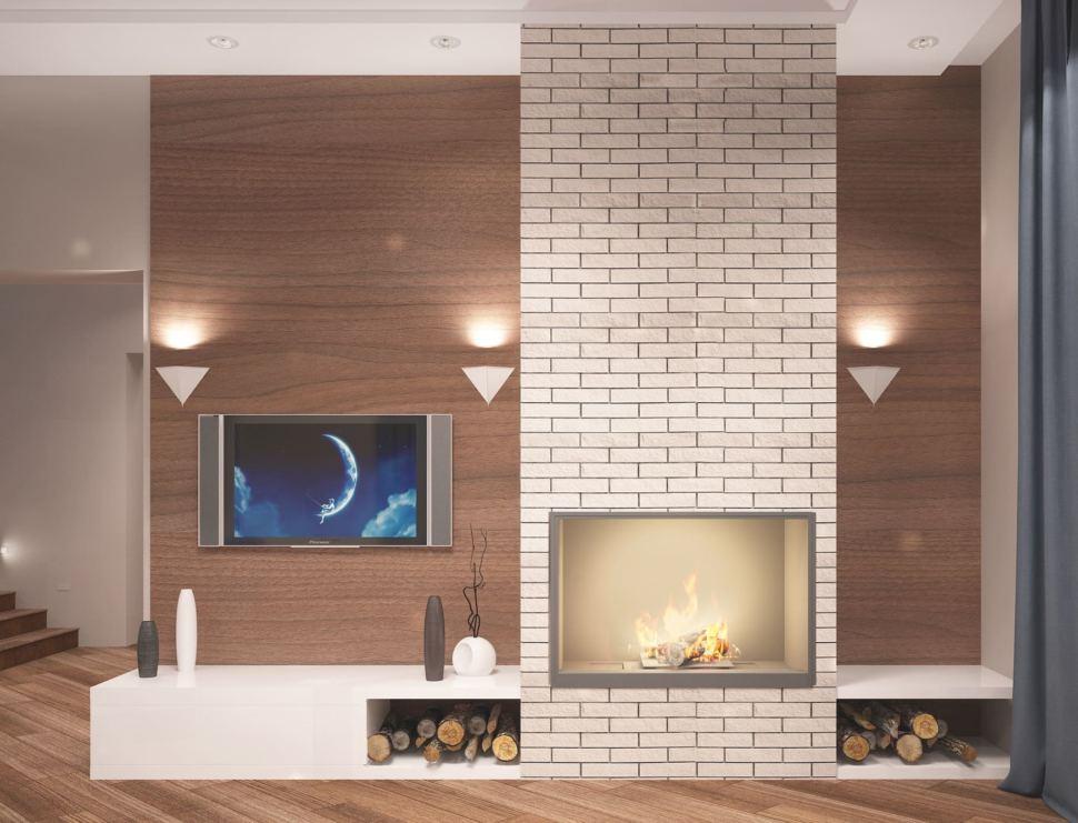 Дизайн гостиной 27 кв.м в теплых тонах, камин, тумба, телевизор, светильники, кирпич, паркет, коридор