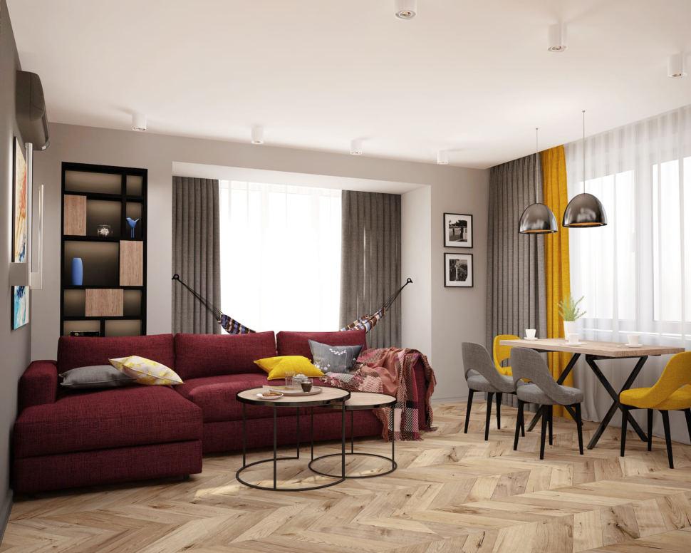 Интерьер гостиной комнаты 20 кв.м в современном стиле, бежевый паркет, угловой диван, журнальный столик, черный стеллаж, гамак