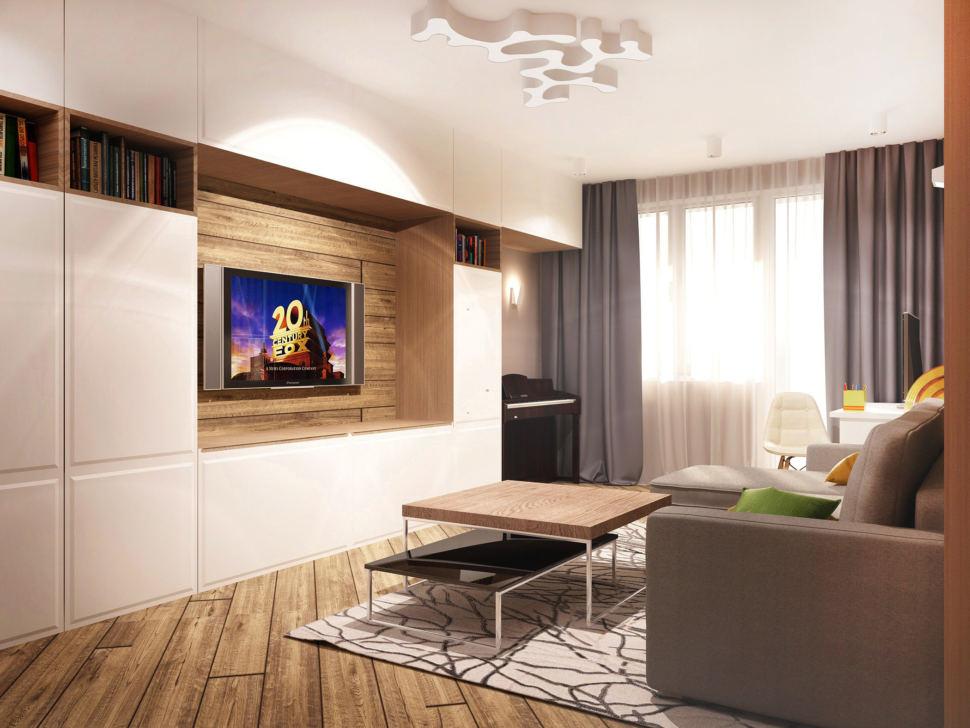 Визуализация гостиной в теплых тонах 20 кв.м, белый шкаф. тумба под ТВ, серый угловой диван, журнальный столик, пианино, люстра, портьеры