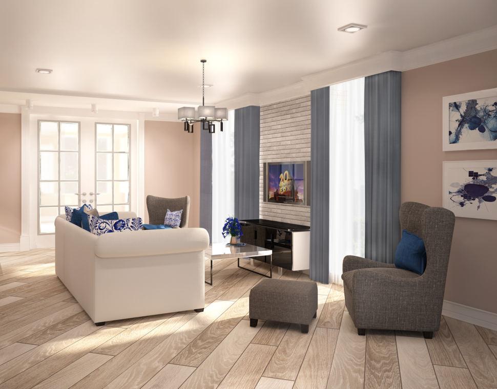 Дизайн интерьера гостиной 42 кв.м. в теплых тонах, белый диван, журнальный столик, пуф, серое кресло, тумба под ТВ