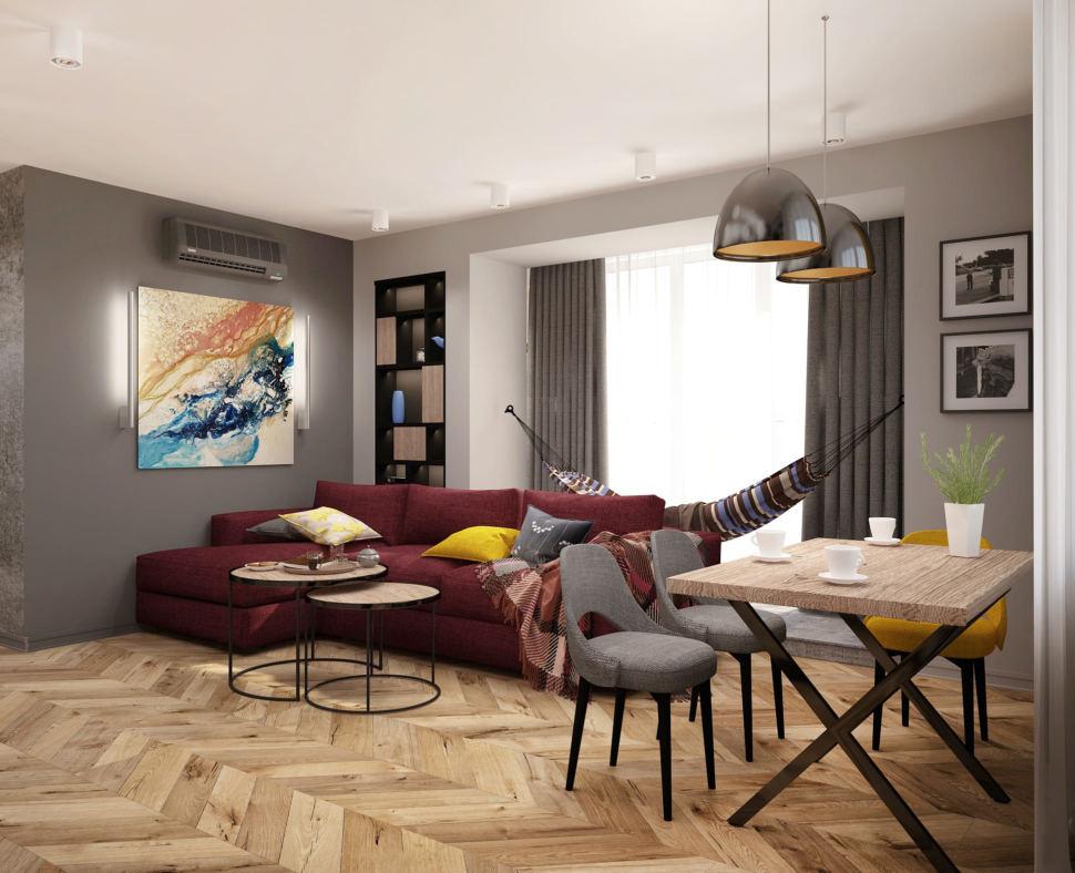 Дизайн-проект гостиной комнаты 20 кв.м в современном стиле, гамак, кондиционер, обеденный стол, бежевый журнальный толк, диван