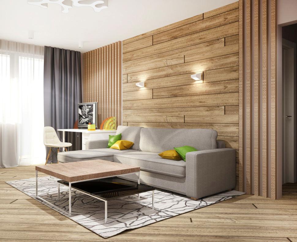 Дизайн-проект гостиной в теплых тонах 20 кв.м, журнальный столик, рабочий стол, белый стул, бело-черный ковер