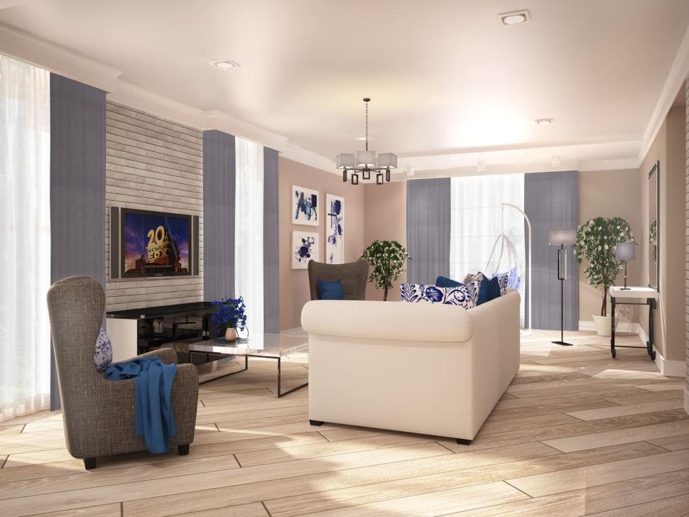 Дизайн гостиной 42 кв.м. с синими акцентами, белый диван, серое кресло, журнальный столик, тумба, телевизор