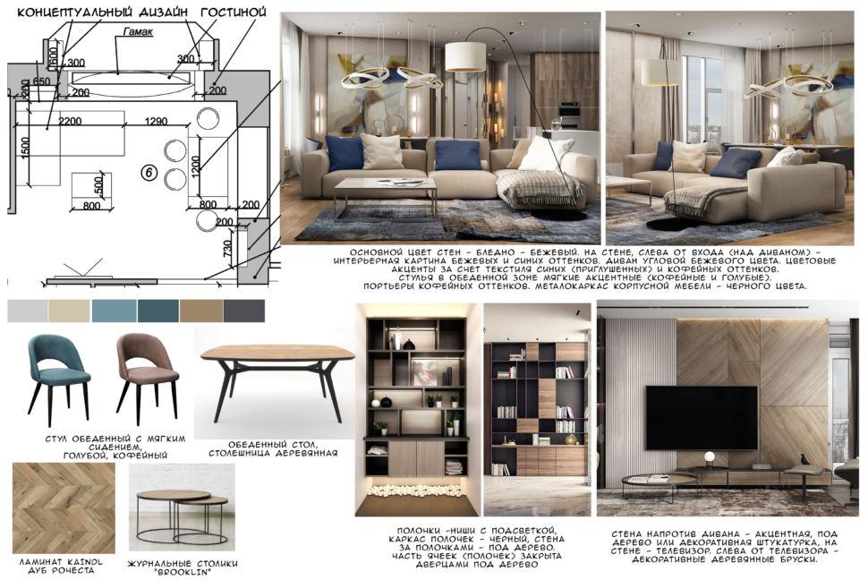 Концептуальный дизайн гостиной в современном стиле 21 кв.м, голубой и кофейный обеденный стул, обеденный стол, ламинат