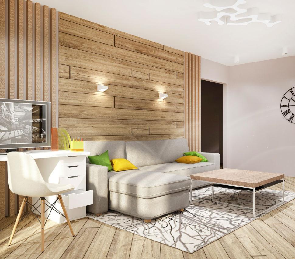 Визуализация гостиной в теплых тонах 20 кв.м, серый угловой диван, белый рабочий стол, белый стул, журнальный столик