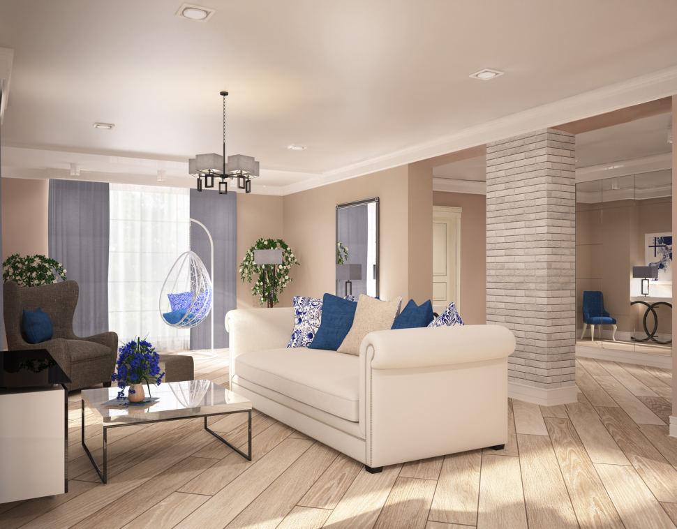Дизайн интерьера гостиной 42 кв.м. в теплых тонах, белый диван, журнальный столик, зеркало, шкаф