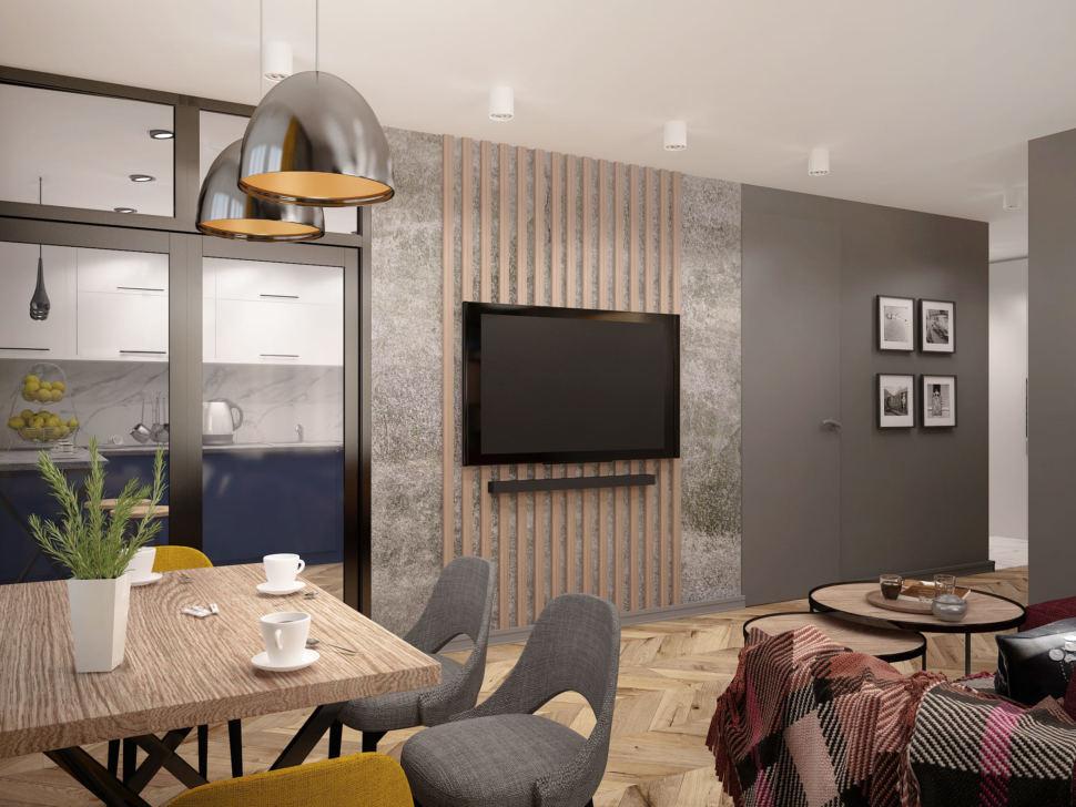 Визуализация гостиной комнаты 20 кв.м в современном стиле, бежевый обеденный стол, черные подвесные светильники, серые стулья, журнальный столик