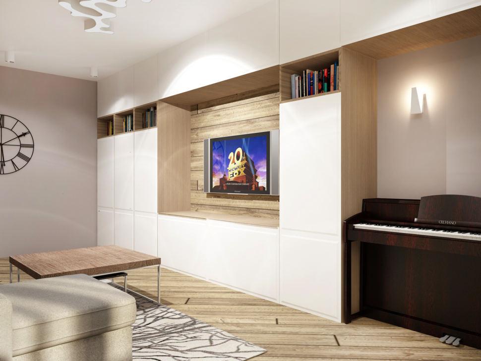 Дизайн интерьера гостиной в теплых тонах 20 кв.м, пианино, ковер, журнальный столик, угловой диван, люстра, тумба под ТВ, белый шкаф