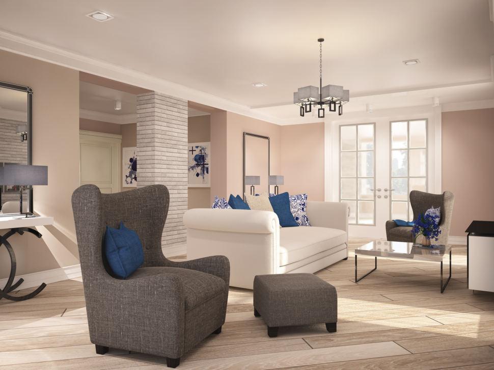 Гостиная в теплых тонах 46 кв.м, диван, кресло, журнальный столик, серый пуф, люстра, белая тумба