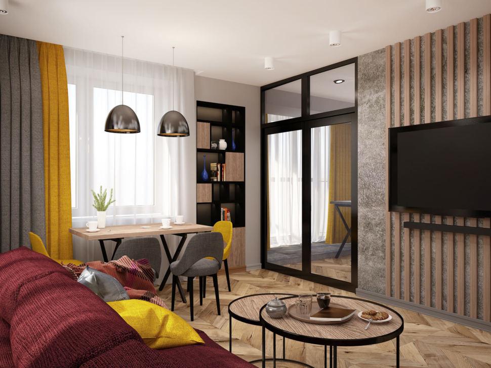 Интерьер гостиной комнаты 20 кв.м в современном стиле, журнальный столик, бордовый красный диван, обеденный стол, стеллаж, стулья