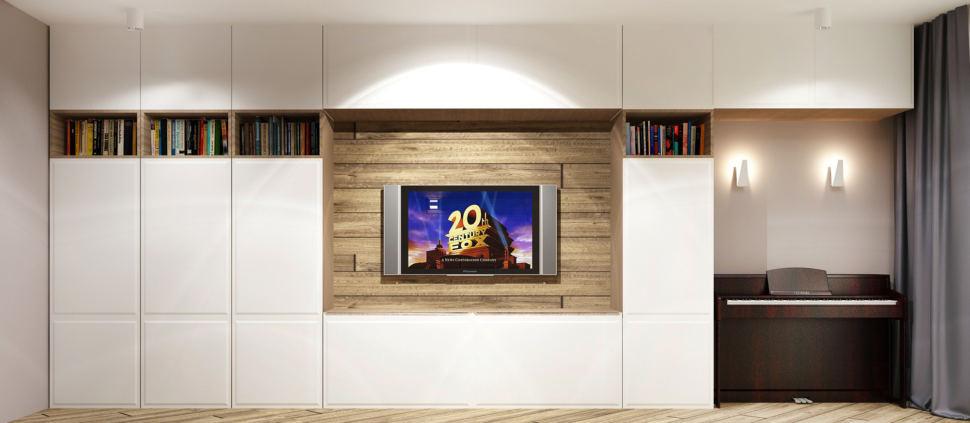 Дизайн-проект гостиной в теплых тонах 20 кв.м, тумба под ТВ, телевизор, белый шкаф, пианино, серые шторы