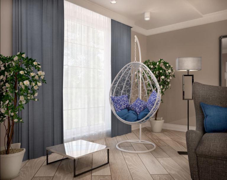 Гостиная с синими оттенками 46 кв.м, белое подвесное кресло, журнальный столик, цветы, лампа, серый диван