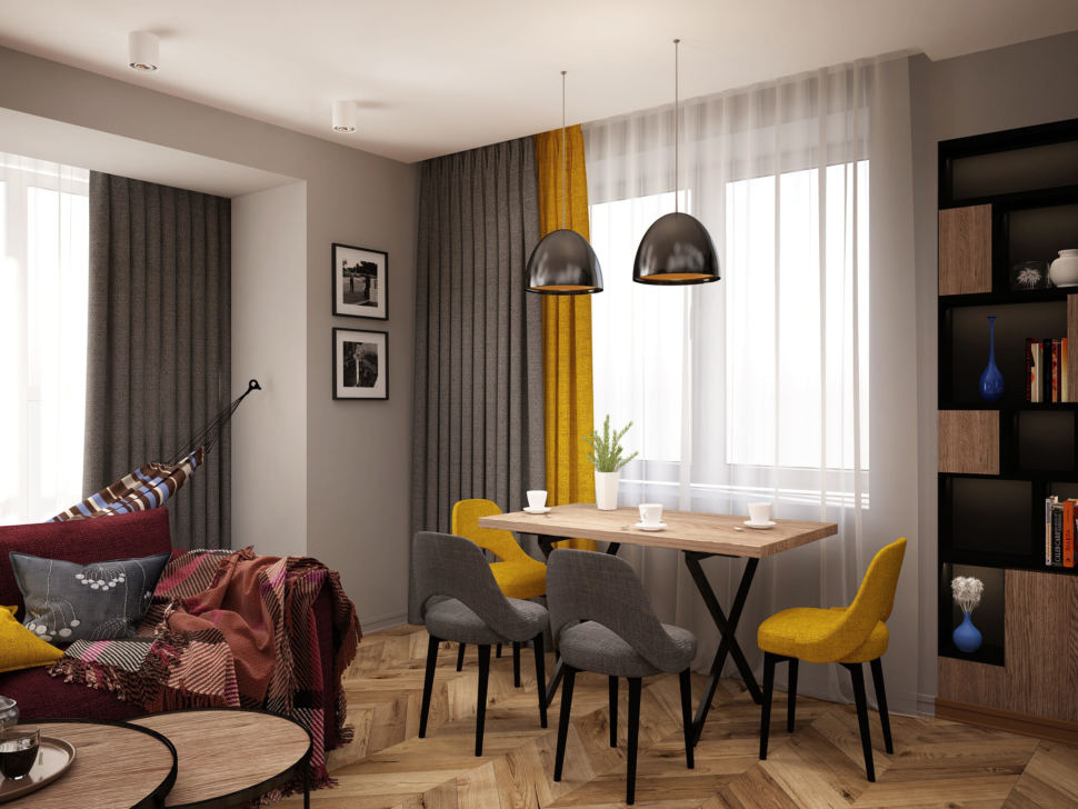 Дизайн-проект гостиной комнаты 20 кв.м в современном стиле, бежевый паркет, обеденный стол, желтые стулья