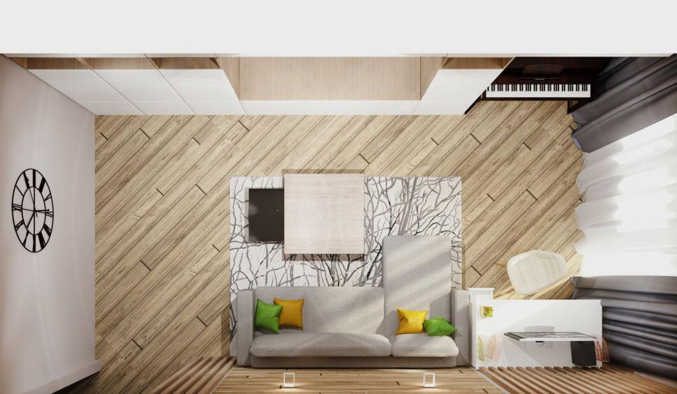 Визуализация гостиной в теплых тонах 20 кв.м, серый угловой диван, белый рабочий стол, белое рабочее кресло, журнальный столик, белая тумба под ТВ