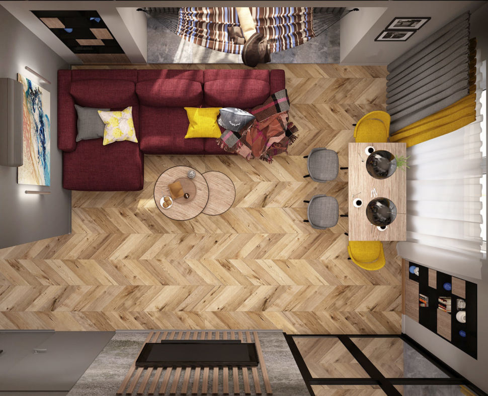 Визуализация гостиной комнаты 20 кв.м в современном стиле, бордовый угловой диван. журнальный столик, желтые стулья, обеденный стол