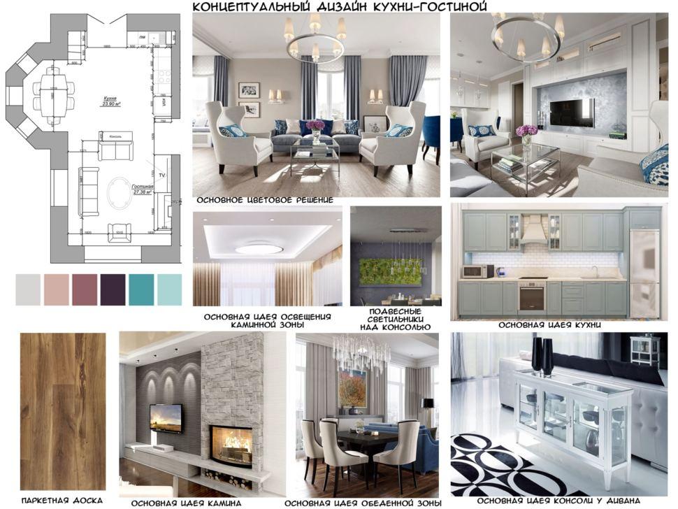 Концептуальный дизайн кухни-гостиной 27 кв.м, паркетная доска, подвесные светильники, подвесные светильники, камин