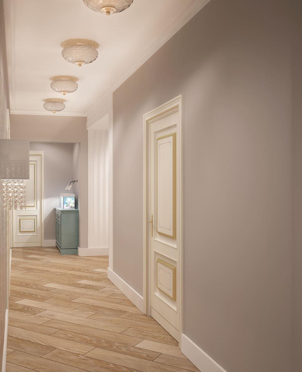 Дизайн-проект коридора в теплых тонах 14 кв.м, бирюзовая тумба, паркет, светильники
