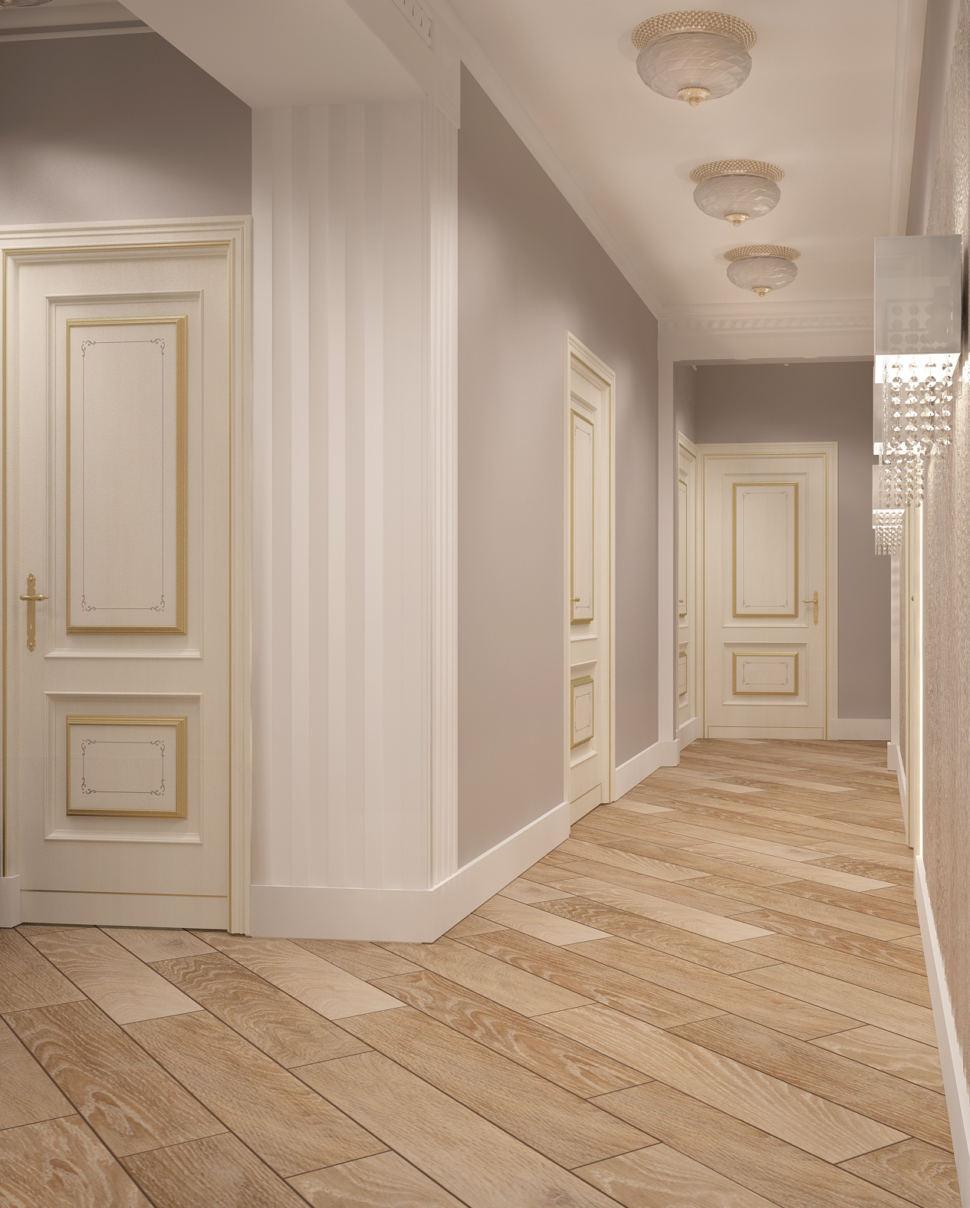 Дизайн коридора в светлых тонах 14 кв.м, паркет, светильники, молдинг, белый плинтус