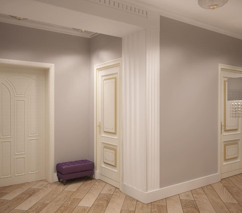 Дизайн коридора и прихожей в белых тонах 14 кв.м, фиолетовый пуф, светильники, паркет, классика