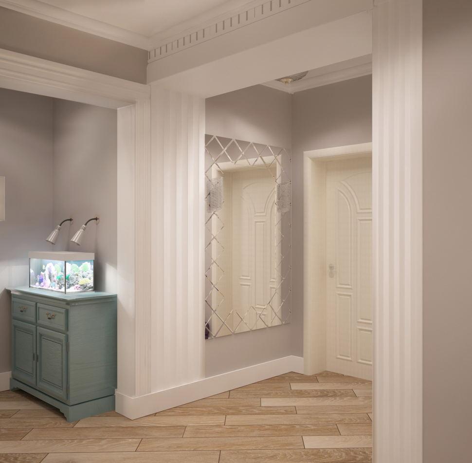 Визуализация коридора 14 кв.м в бежевых тонах, зеленная тумба, зеркало, паркет, светильники, классика